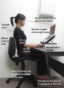 Ergonomic desk setup for correct posture